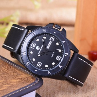 Emerson Jam Tangan Pria Body Black Black Dial Black Leather Strap EM 5560 .