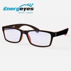 ENERGEYES Kacamata Komputer Anti Radiasi Melindungi Mata & Mengurangi Blue Light sampai 50% Dewasa warna depan Hitam belakang Orange Tangerine