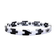 Energy Power Bracelet Health Ceramic Wristband Magnetic Bio Black With White