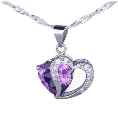 Eozy Hollow Out Heart 925 Sterling Silver Pendant Purple Rhinestone Small Transparent Rhinestone Jewelry For Gift DIY Necklace Charms (Silver) (Intl)