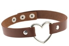 EOZY Vintage PU Leather Love Heart Choker Necklace Gothic Collar Women Chain & Bracelets Charm Jewelry (Dark Coffee) - Intl