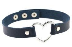 EOZY Vintage PU Leather Love Heart Choker Necklace Gothic Collar Women Chain & Bracelets Charm Jewelry (Deep Blue) - Intl