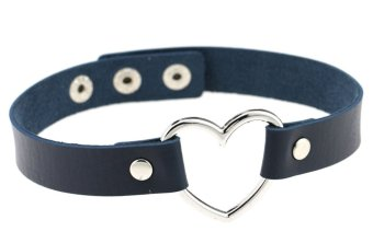 EOZY Vintage PU Leather Love Heart Choker Necklace Gothic Collar Women Chain & Bracelets Charm Jewelry (Deep Blue) - Intl