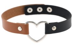 EOZY Vintage PU Leather Love Heart Choker Necklace Gothic Collar Women Chain Charm Jewelry (Black & Light Coffee) - Intl