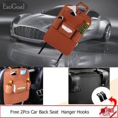EsoGoal Car Backseat Organizer Woolen Felt Seat Pocket Protector Storage with 2 Hooks (Brown) - intl