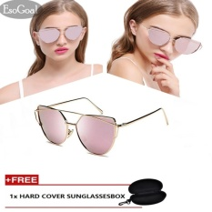 EsoGoal Cat Eye Sunglasses Mirrored Flat Lenses Metal Frame Women Eyewear With Case , Gold And Pink