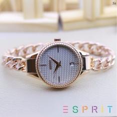 ESPRITA jam tangan wanita casual dan fashion -Tanggal aktif - Rantai kepang - stainless steel