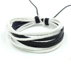 ETOP Wrap Multilayer Synthetic Leather Bracelet With Braided Rope Jewelry (White)