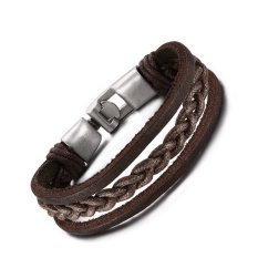 European And American Retro Leather Material Hand-woven Rope Bracelet To Wear