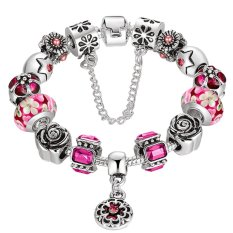 European Murano Glass Bead Charm Bracelet with Crystal Women Bangle Jewelry Gift-red (Intl)