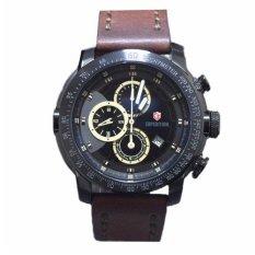 Expedition 6372 - Jam Tangan Pria - E6372 - Full Black - Strap Brown - Anti Air (Black)