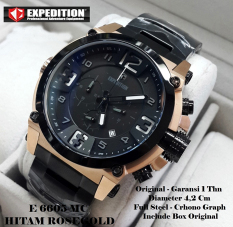 Expedition 6605 Hitam Rose Gold - Jam Tangan Pria - Tali Rantai - Hitam Rose Gold