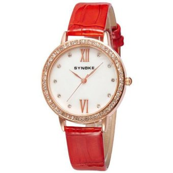 Extendable Women's Fashion Wristwatch Red Man-made Leather Band