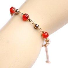 Eyo Jewelry Gelang Wanita Rantai Merah - Gold