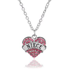 Family Christmas Gift For Women Chain Link Silver Alloy Pink Rhinestone Crystal Love Heart Niece Charm Pendant Necklace (Intl)
