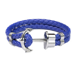 Fancyqube Men Double-Deck Boat Anchor Weave Chain Leather Bracelets Blue Rope Silver Anchor