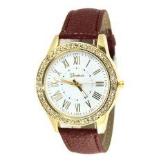 Fancytoy Geneva Leather Quartz-Watch Womens Crystal Diamond Rhinestone Watches Beauty Dress Wristwatch Coffee- - intl