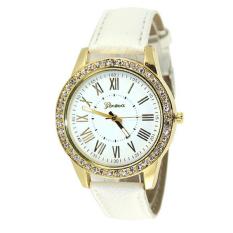 Fancytoy Geneva Leather Quartz-Watch Womens Crystal Diamond Rhinestone Watches Beauty Dress Wristwatch White- - intl