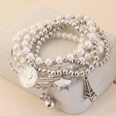 Fancytoy New Fashion Unique Gold Silver Metal Faux Pearl Multilayer Pendant Bracelet