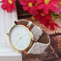 Fang Fang 1PC Women Men Casual Geneva Unisex Watch Faux Leather Quartz Analog Wrist Watch - White