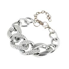 Fang Fang Fashion Cheap Plated Alloy Chain Chunky Bracelets Bangles Women Bracelet (Silver)