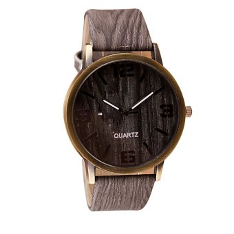 Fantastic Mens Fashion PU Leather Strap Watches Quartz WoodenPattern Wrist Watch Couple Lover Watches