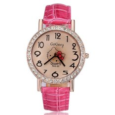 Fashion 2015 New Quartz Watch For Ladies Relogio Kitty Rose Gold Plated Full Crystal Rhinestone Pu Leather Strap Watches Women (Rose Red)
