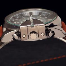 Fashion V6 Leather Quartz Watch Analog Sports Military Watches Men's Wristwatch Blue (Intl)