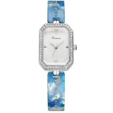 Fashion Women Watches Diamond Rectangle Dial Quartz Bracelet Wristwatch Blue (Intl)