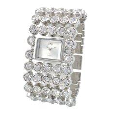 Fashion Brand Famous Luxury Ladies Women Rhinestone Bracelets Quartz Wristwatches Silver (Intl)