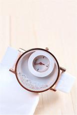 Fashion Casual Double Dial Rhinestone Quartz Women's Wristwatch LC194 White