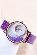 Fashion Casual Double Dial Rhinestone Quartz Women's Wristwatch LC195 Purple