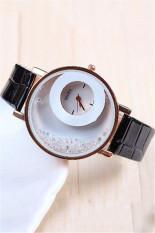 Fashion Casual Double Dial Rhinestone Quartz Women's Wristwatch LC196 Black