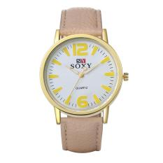 Fashion Collocation Wrist Watch High Quality Fashion Women Men Wristwatches Luxury Leather Roman Number Quartz Watch Clock Casual Women Watches - Intl