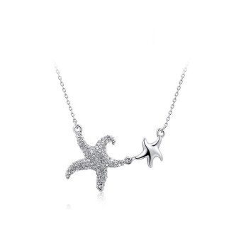 Fashion Cool Sea Star Platinum Plated Pendant Women Lady Party Anniversary Jewelry Chain Necklace