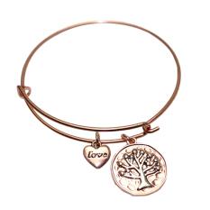 Fashion Cute Women Jewelry Love Heart Tree Of Life Pendant Wrist Bracelet Bangle Silver - Intl
