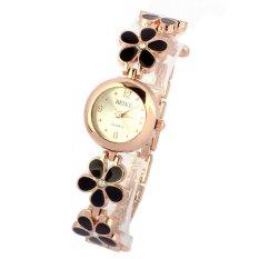 Fashion Daisies Flower Rose Gold Bracelet Wrist Watch Women Girl Black