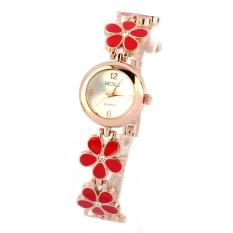 Fashion Daisies Flower Rose Gold Bracelet Wrist Watch Women Girl (Red)