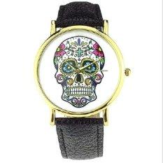 Fashion Design Women Dress Watches Quartz Watch Fashion SKULL Watch Ladies Men Wrist Watch Black (Intl)