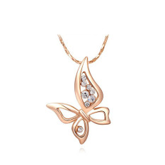 Fashion Elegant Butterfly Rose Gold Plated Pendant Lady Girls Wedding Gift Jewelry Chain Necklace (Rose Gold Color)