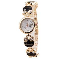 Fashion Face Painting Oil Painting Steel Crystal Diamond Quartz Bracelet Wristwatch Black (Intl)