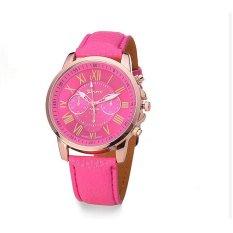 Fashion Female Style Leather Casual Watch Wristwatch Women Dress Quartz Wristwatches (Rose Red) (Intl)