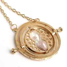 Fashion Gold Time Turner Necklace Hermione Granger Rotating Spins Hourglass - Intl