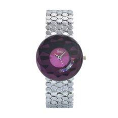 Fashion High Quality Luxury Large Dial Alloy Lady Dress Women Rhinestone Watch Silver and Purple (Intl)