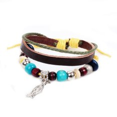 Fashion Jewelry Wood Colorful Beads Silver Alloy Fish Pendant Multi Layer Leather Rope Chain Handmade Women Adjustable Bracelet For Girl Christmas Gift (Intl)