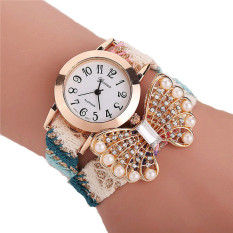 Fashion Korean Style Woven Band Pearl Bowknot Bracelets Watch LC283 Colorful