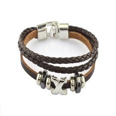Fashion Korean Style Woven Mens Titanium Steel Buckle Leather Bracelets Brown (Intl)