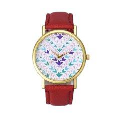 Fashion Lady Women Quartz Aztec Tribal Pattern Leather Wrist Watch (Red) (Intl)