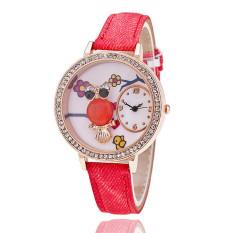 Fashion Leather Band Delicate Rhinestone Owl Flower Women's Quartz Watch LC514 Red