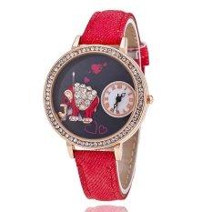 Fashion Leather Band Delicate Rhinestone Elephant Women's Quartz Watch LC506 Red